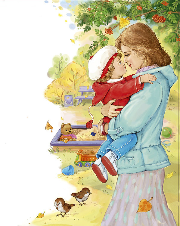 Дети с мамой картинки нарисованные, для