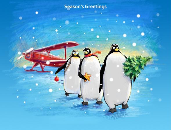 Поздравительная открытка с пингвинами, счастлива смешные