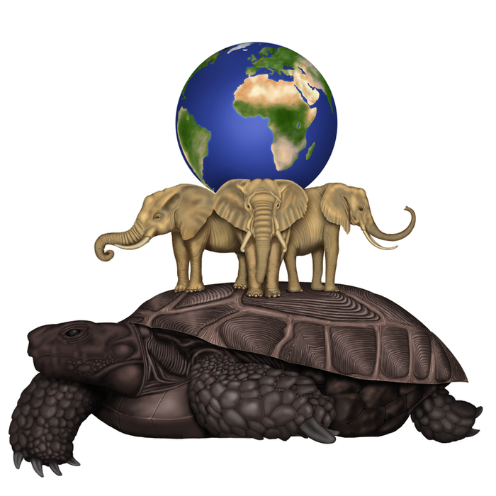 Сообщество иллюстраторов | Иллюстрация Три слона на черепахе.