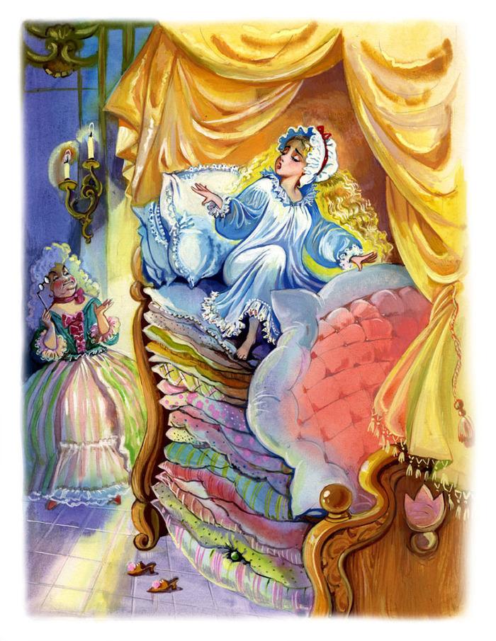 Картинке к сказке принцесса на горошине