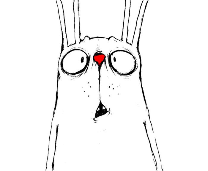 Нарисовать смешного кролика, крестной день рождение