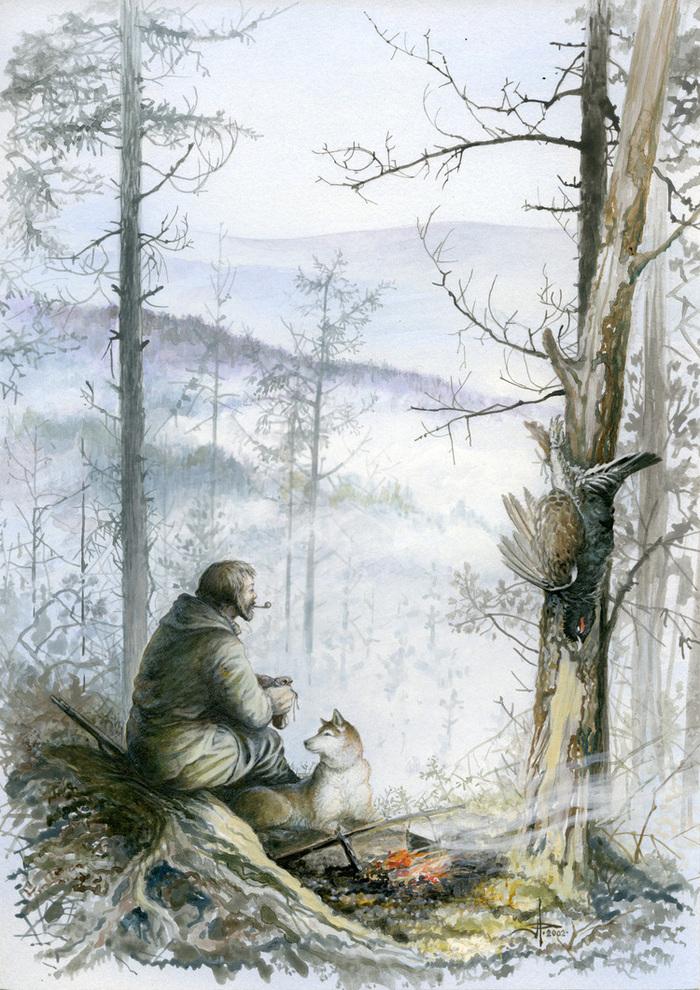 охотник в зимнем лесу рисунок комфортно нынешним весом