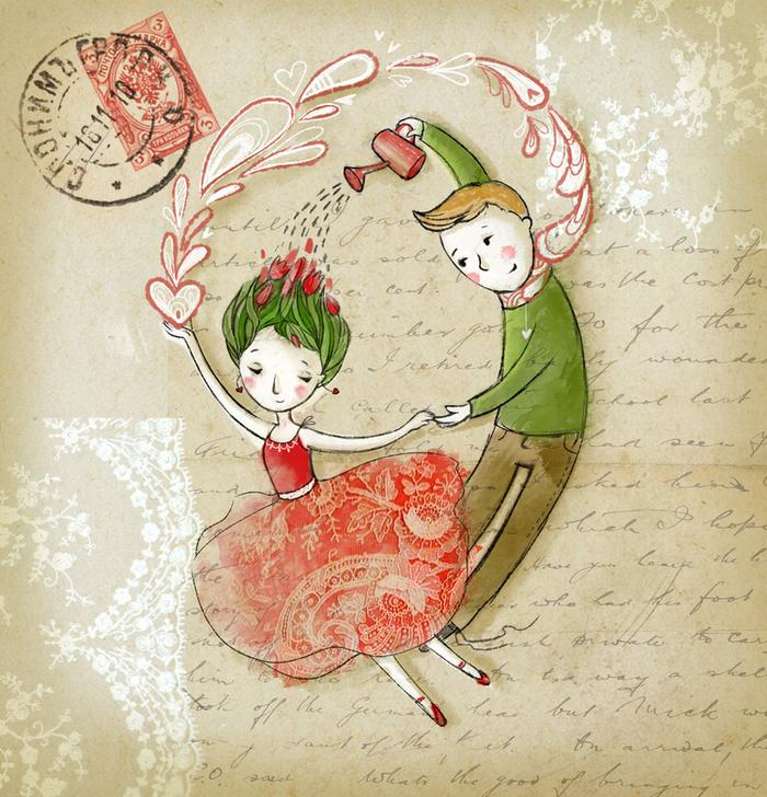 Китайски новым, авторская рисованная открытка