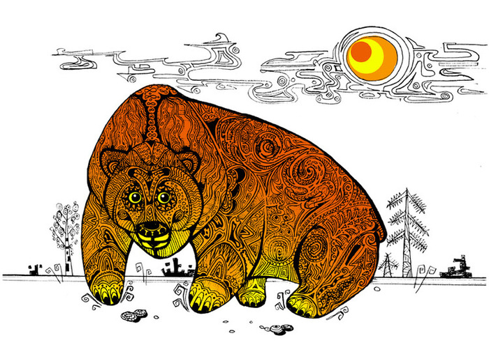 Медведь с балалайкой анимация стильный