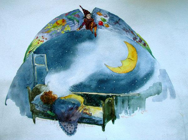 Сон рисунок акварелью