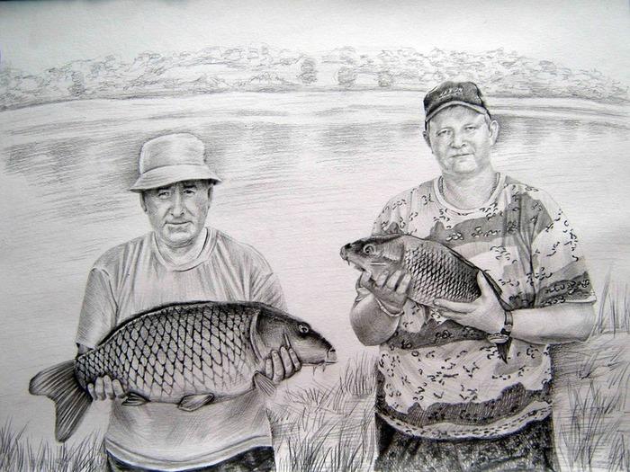 как рисовать видео рыбак