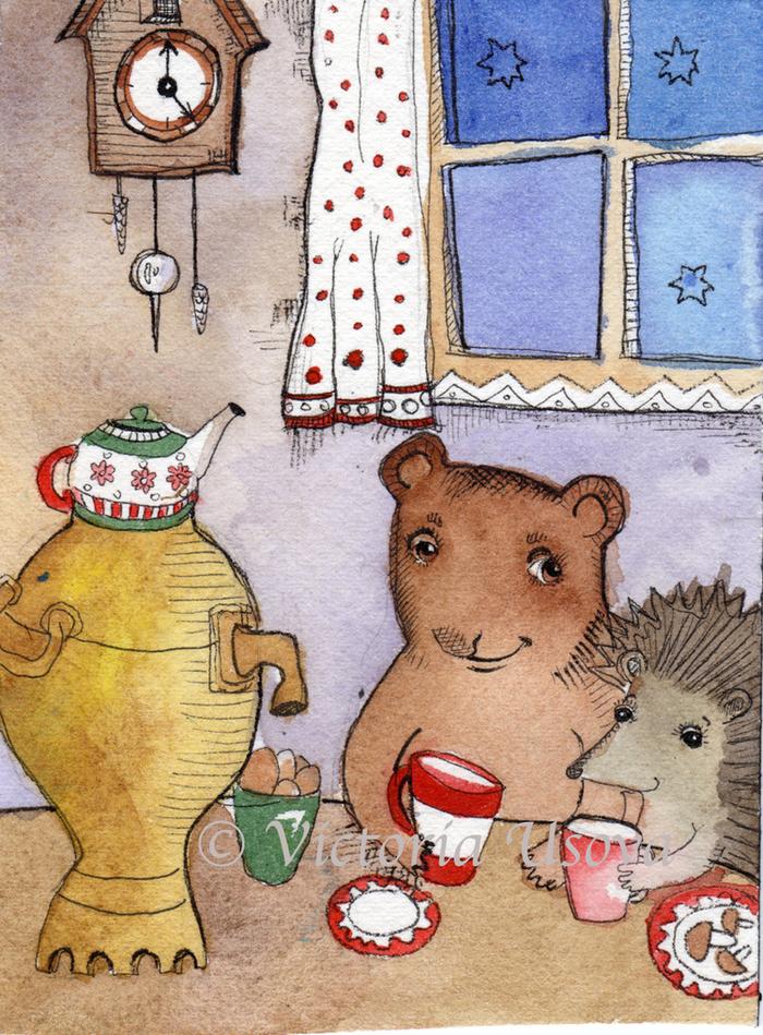 можно картинки чай и медведь закрывали собой ладонь