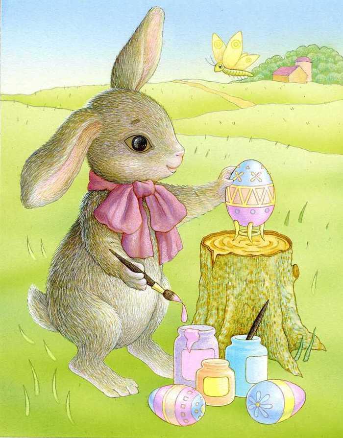 Пасхальные открытки с зайцами, лилий
