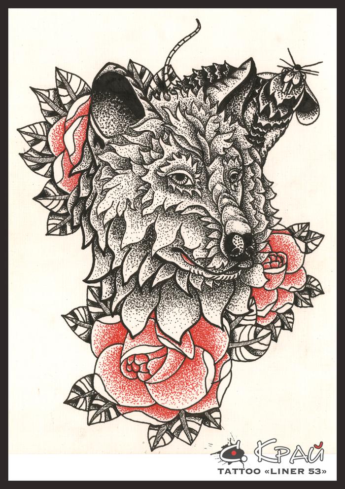Эскизы тату с волком и розой
