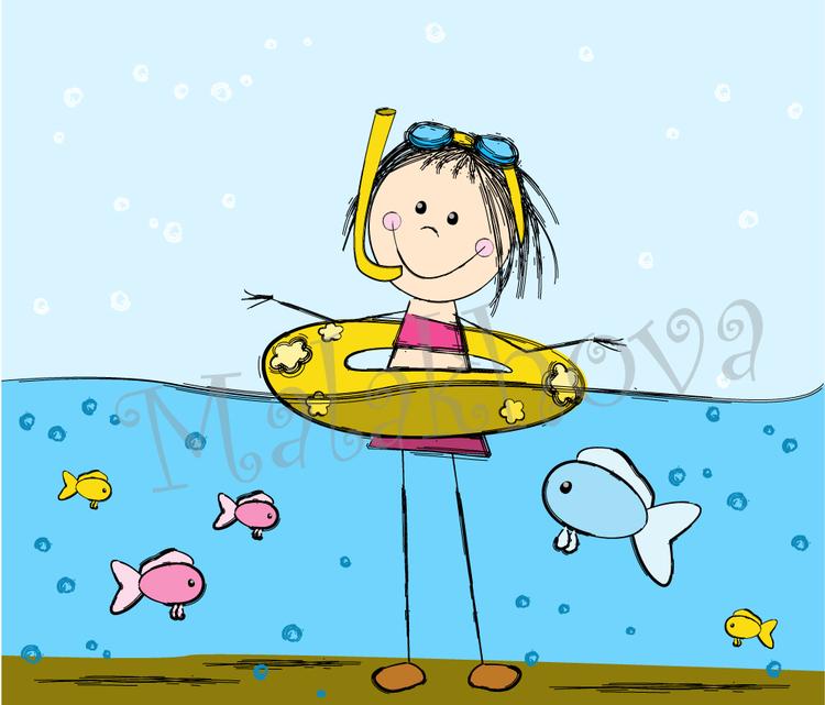 Kids swimming in a lake cartoon