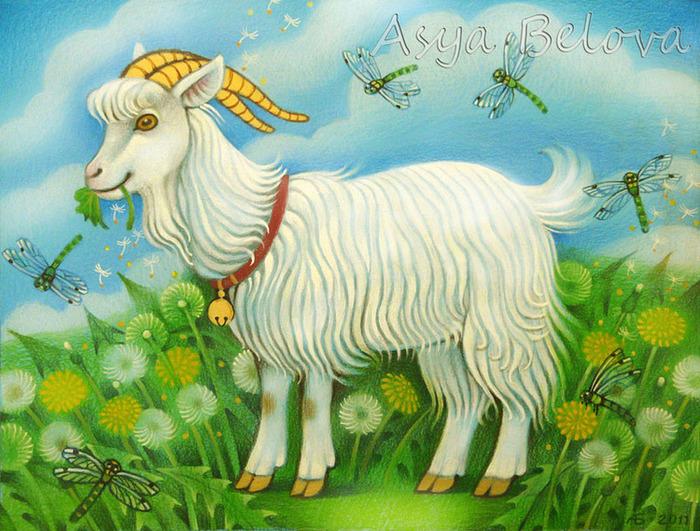 Картинка козы для детей, днем