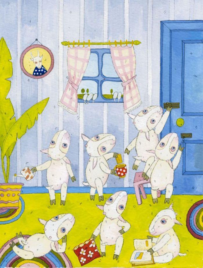 Сказка волк и семеро козлят картинки карандашом