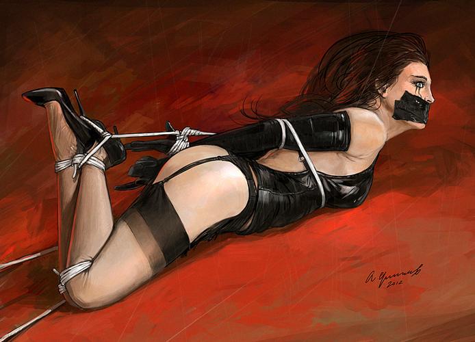 Почему нет? BDSM, красивая девушка, Клубничка, связывание.