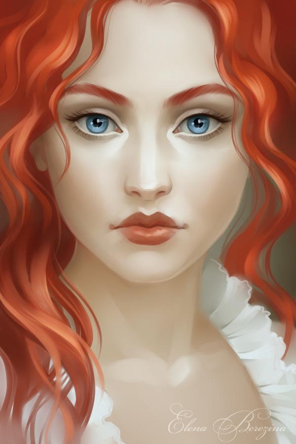 Рисунки с девушкой с рыжими волосами