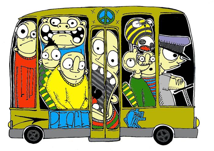 Открытка друзья, смешной автобус рисунок