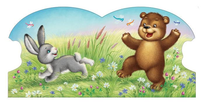 Мишка и зайчик картинка для детей