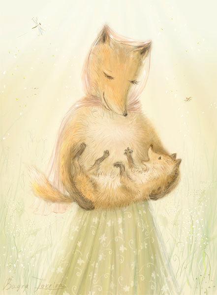 лиса с лисёнком картинки
