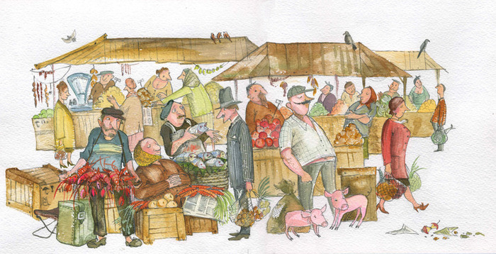 Днем, открытки базар
