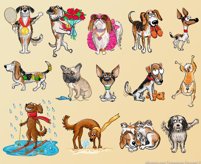 Смешные рисунки кошки с собакой