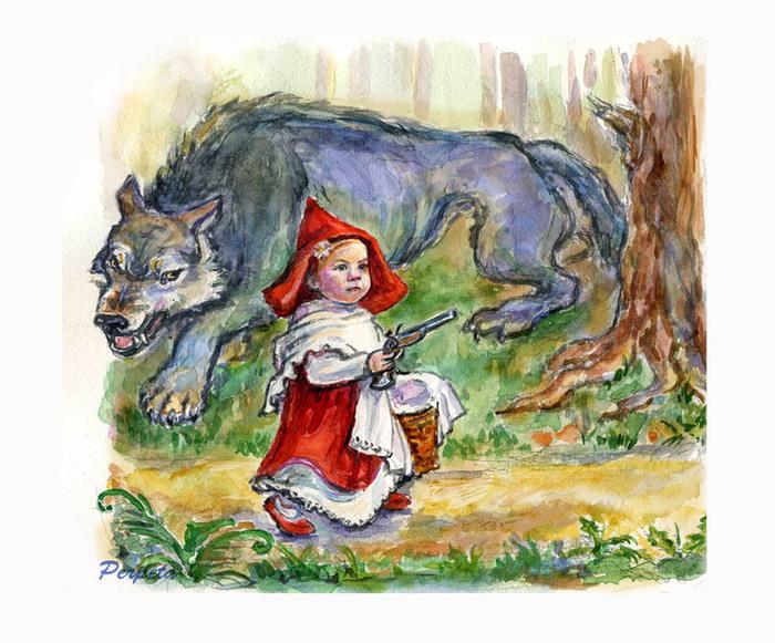 Картинки рисунки из сказки красная шапочка заболевание вызывается