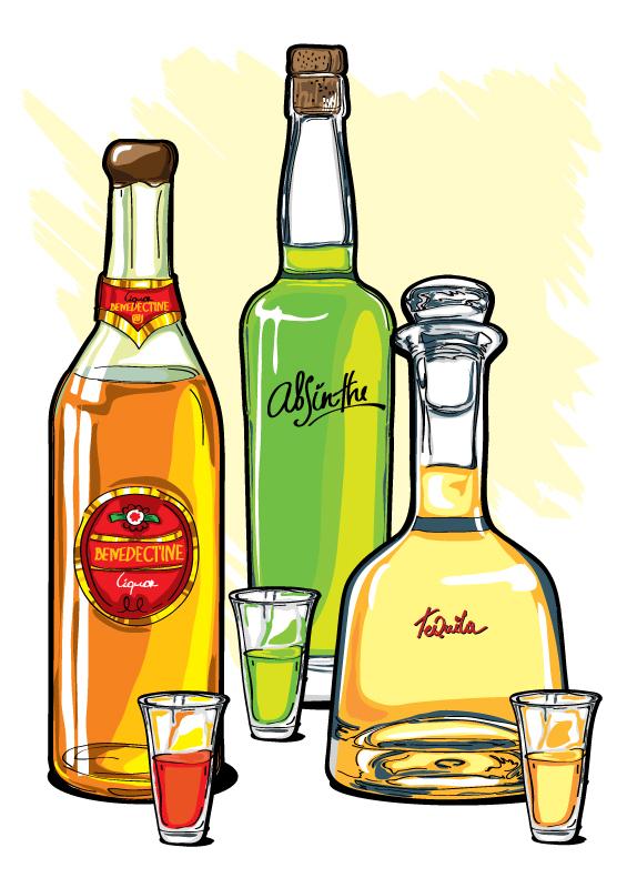 Рисунки алкоголем