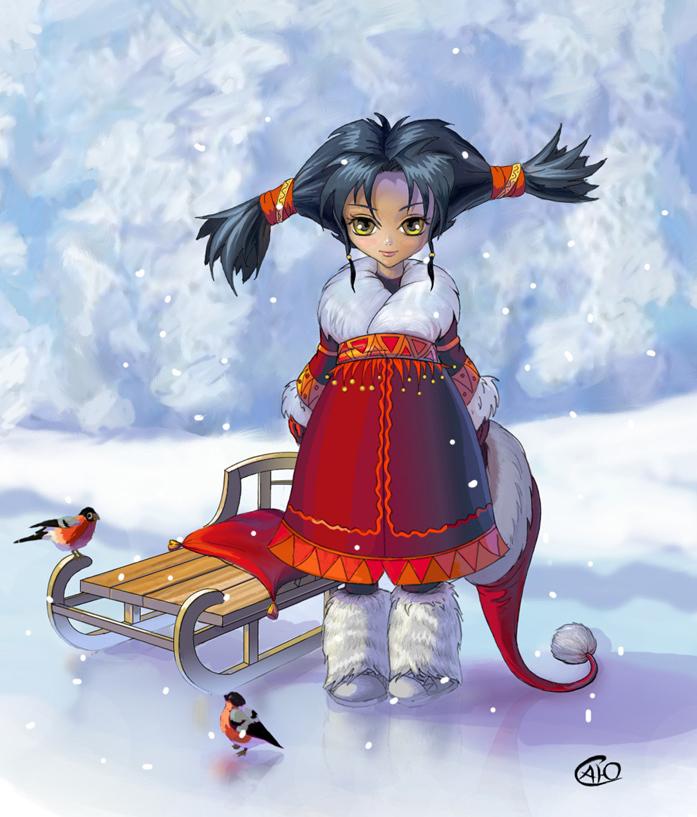 Прикольные рисунки девочки зимы