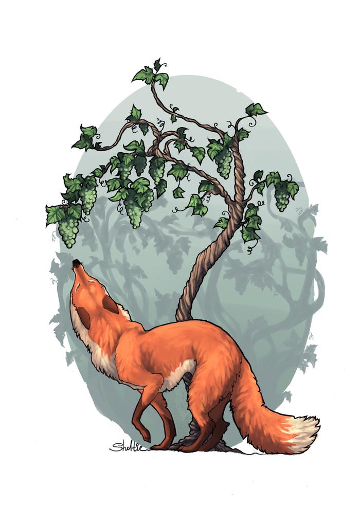 именно картинка для басни лиса и виноград говорила