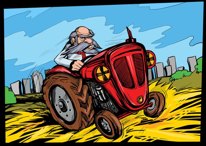 Открытка английском, трактор смешная картинка