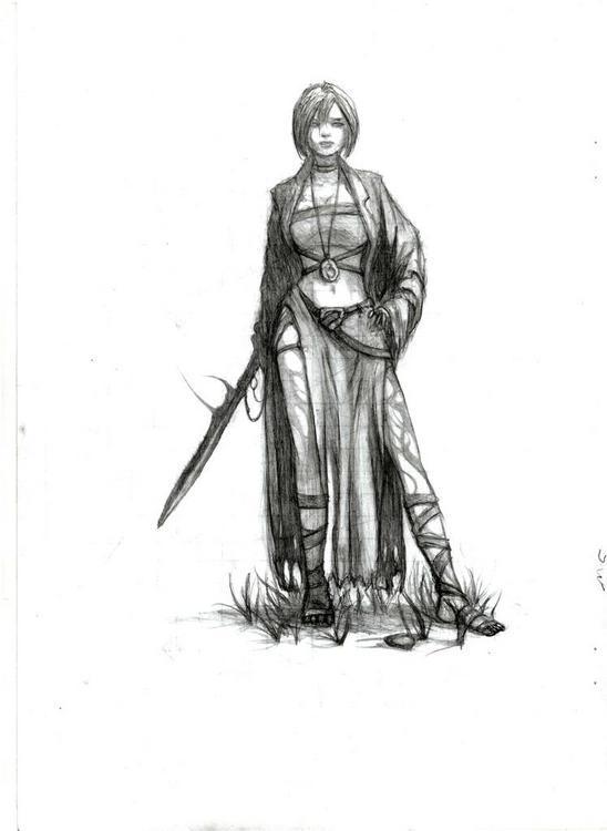 Воины девушки рисунок карандашом