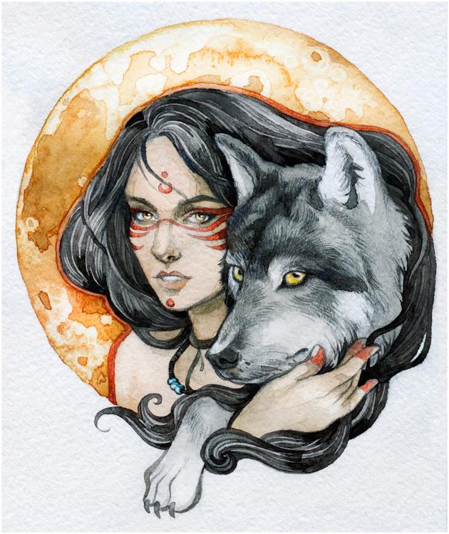 День, девушка и волк картинки нарисованные