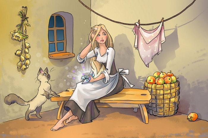 Золушка картинки иллюстрации авторское фото