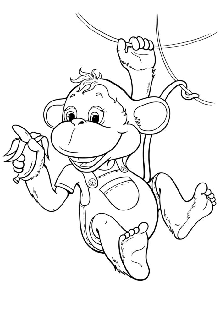 Раскраски обезьян к новому году