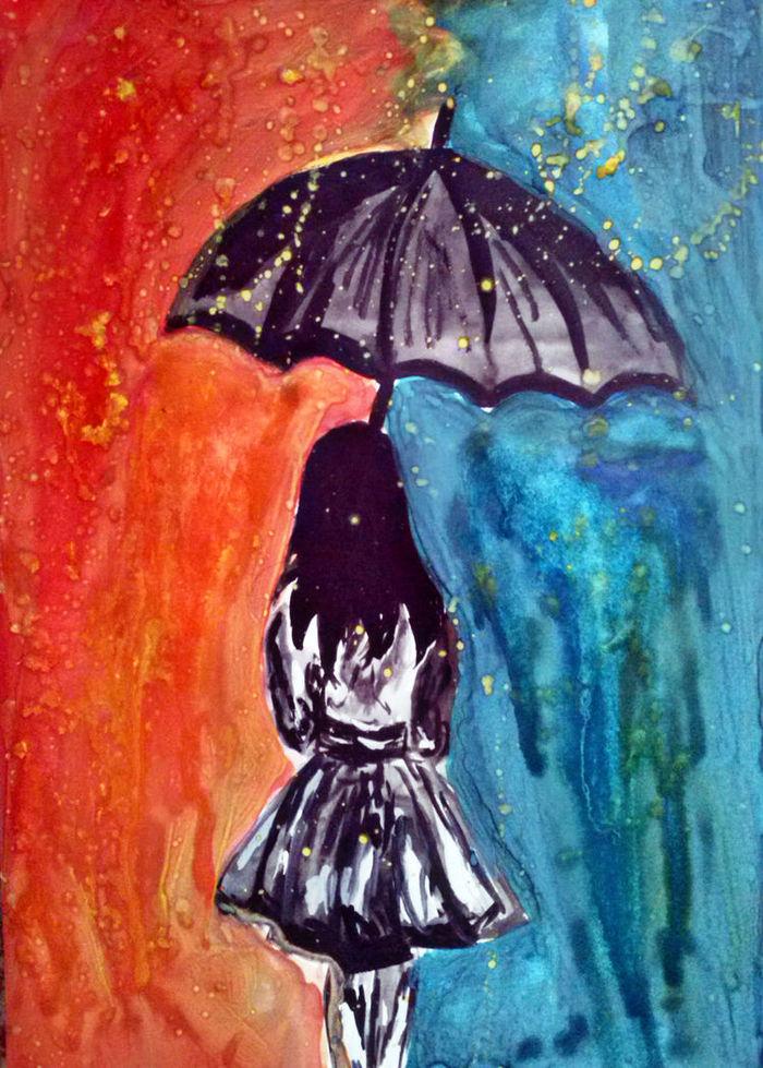 рисунки про одиночество красками процессы