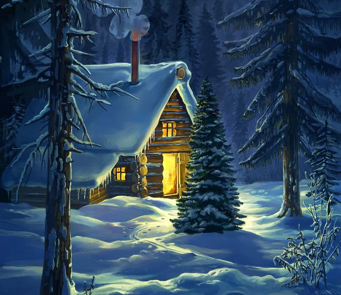 Анимационная картинка домик лесника в зимний период аппетитный