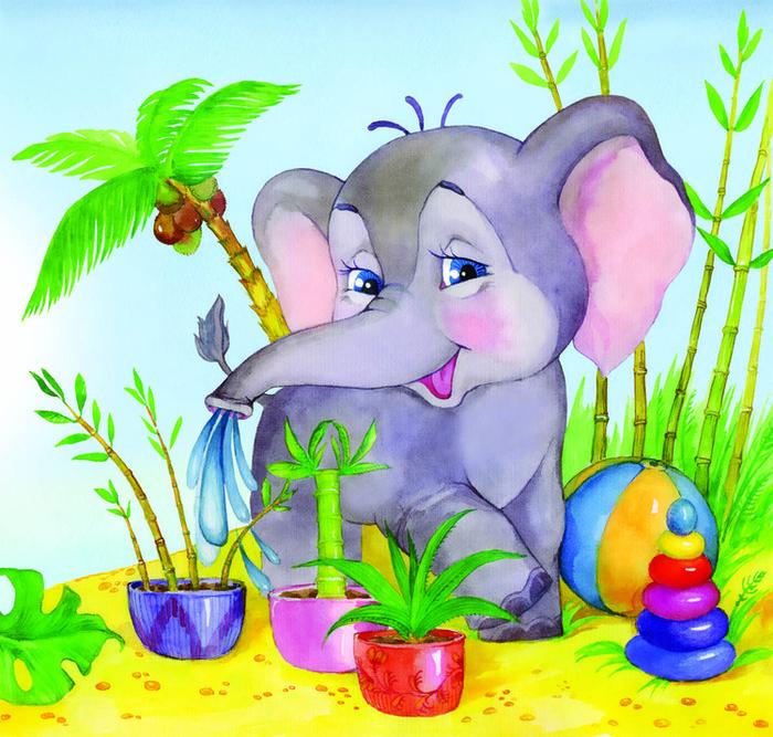 Слоненок открытки, анимация про любовь