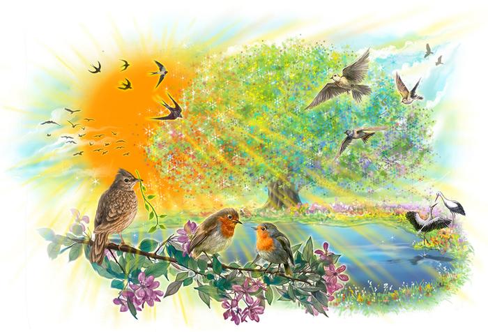 Рисунок журчат ручьи цветут цветы летают бабочки пели птицы