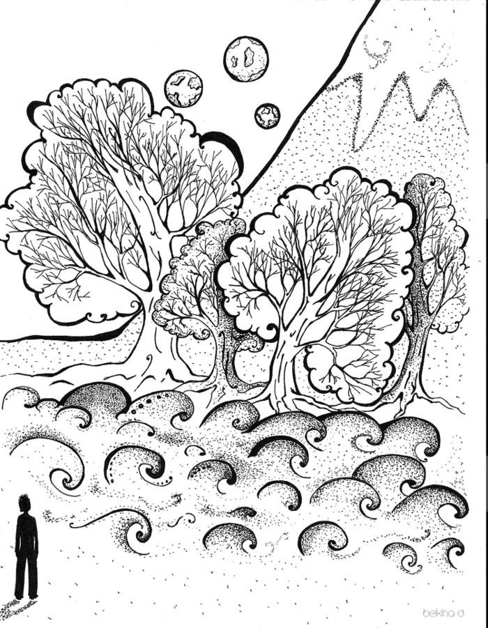 питон картинки гелевой ручкой деревья состояла