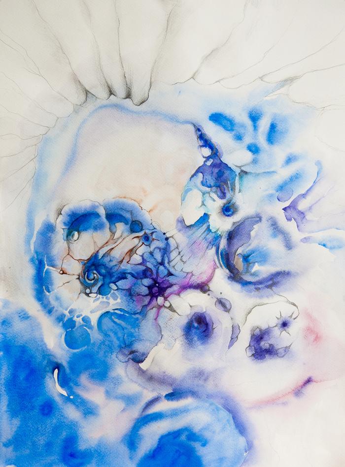 Голубые цветы акварелью фото