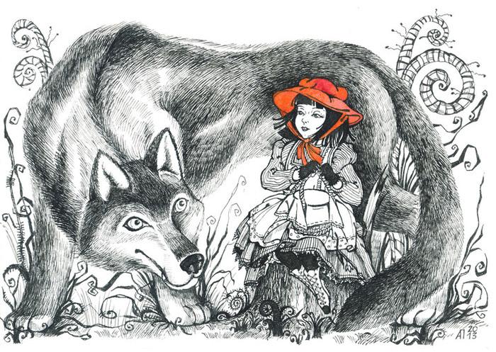 картинки рисунки из сказки красная шапочка удивительный сюжет