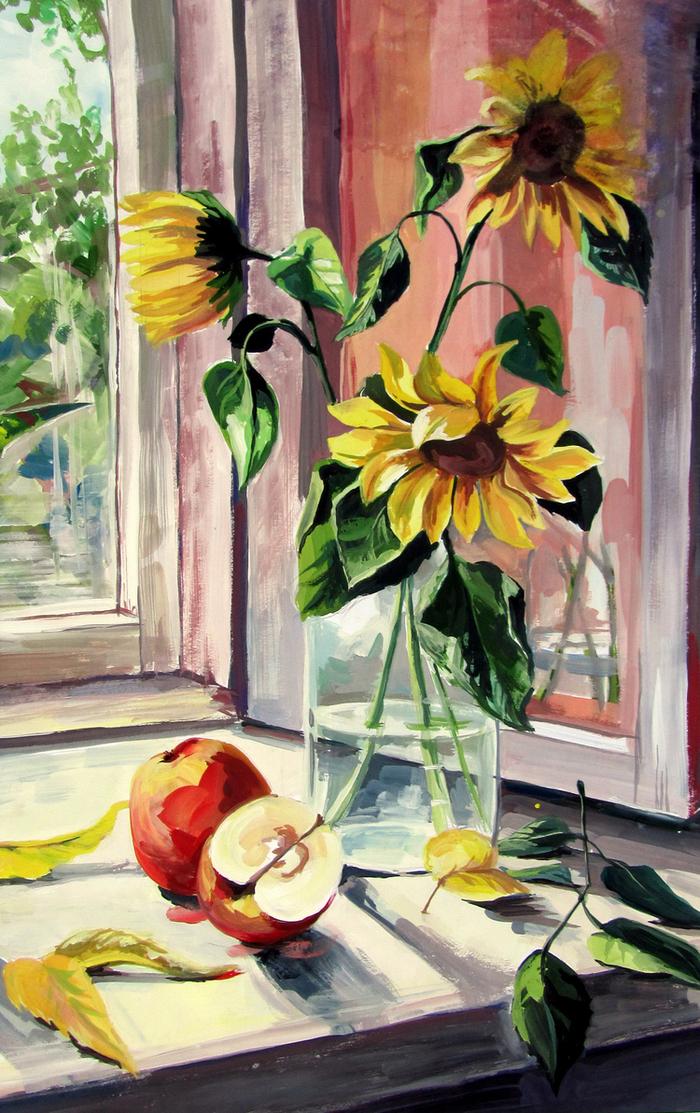 Картинки подсолнухи на окне