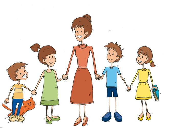 Картинки с учителем и детьми нарисованные, новогодняя
