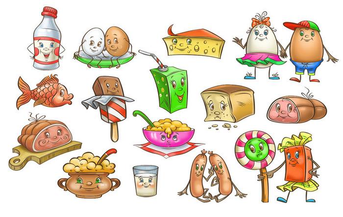Детский рисунок с едой