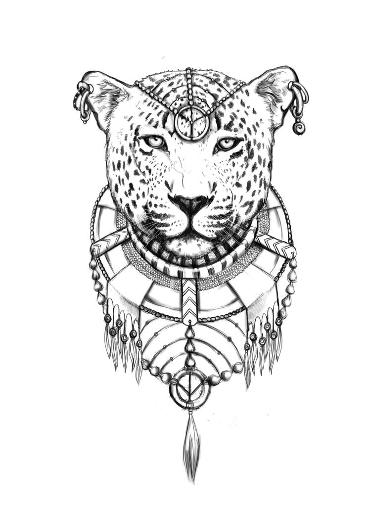 эскизы тату леопард: