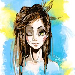 Рисунки девушка с дредами