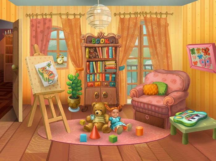 Днем рождения, картинка детской комнаты с игрушками
