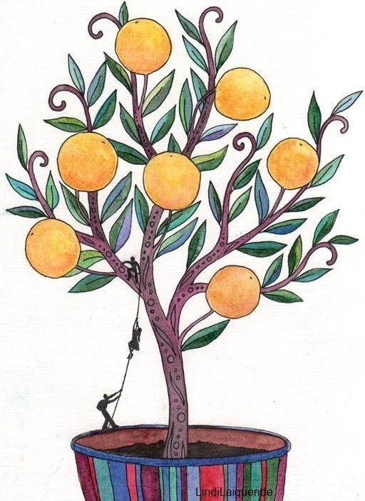 Рисунки апельсина на дереве
