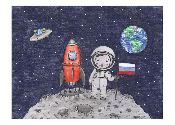 Космонавт рисунки детские