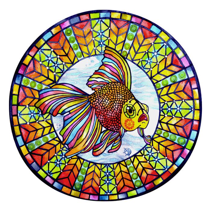 картинки с рыбками витраж цветы часто