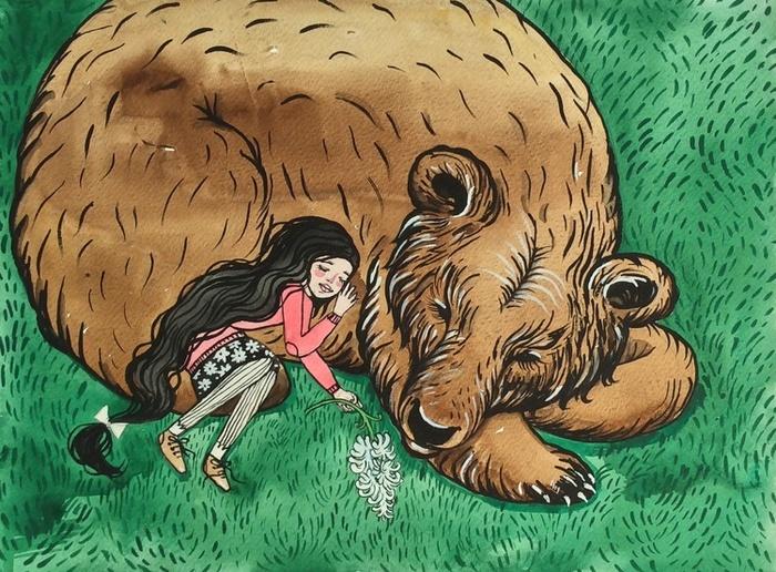 Картинки девочка с медведем нарисованные, птицах разные