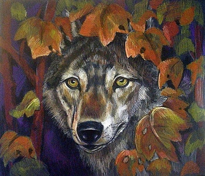 сети осенний волк рисунок дальше второй